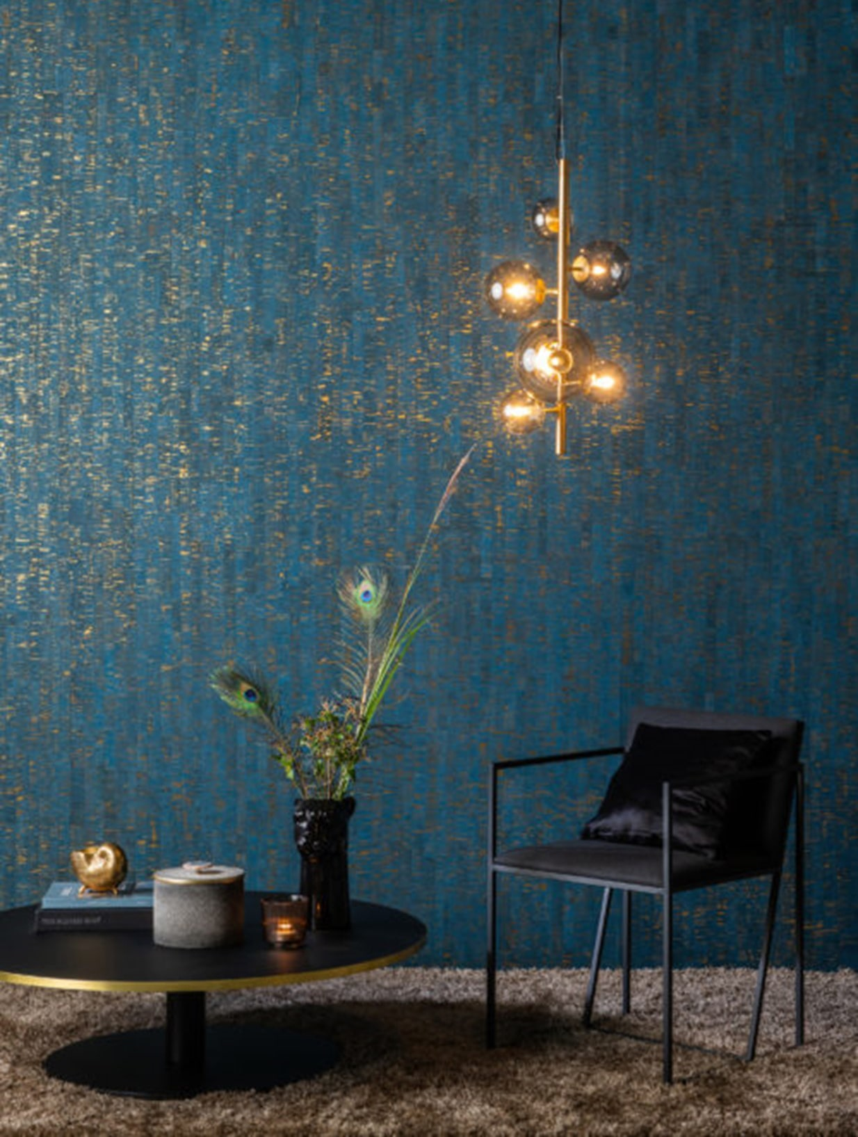 wallcovering has the texture of crushed for paper and feeling of waves