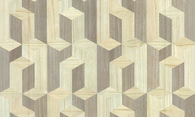 wood wallcovering made of real wood veneer and applied on the wall just like regular wallcovering